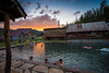 USA, Idaho, Idaho County, Burgdorf Hot Springs at Sunset - 7165