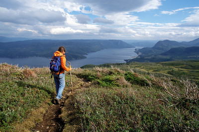 Hiking on Newfoundland's West Coast with fjord below
