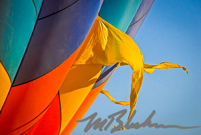 Colorful Hot Air Balloon with Flags