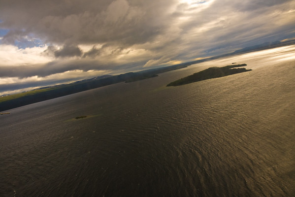 Ariel view of Katmi State Park.  Heavy winds lead to a landing at Naknek Lake and a bus trip to the bridge to Brooks Lodge and Camp.