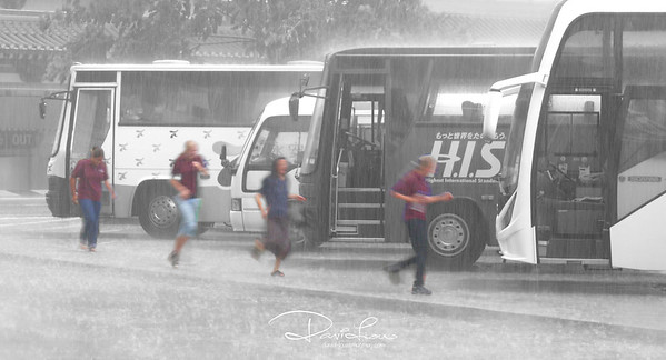 Drenched - These tourists must be behind schedule. What a big sacrifice to get themselves drenched under the pouring rain.