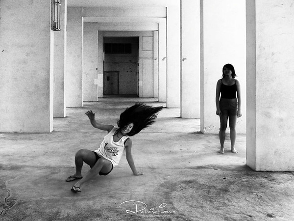 Void deck kid trying a cartwheeling