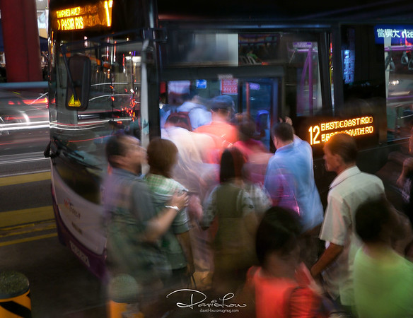 Public transport - This is a chance encounter while walking pass a bus stop. This image struck me immediately as something unique and striking, one that captures perfectly the rushing of commuters when taking public transport. The ambient light just gave off a lovely ethereal glow.