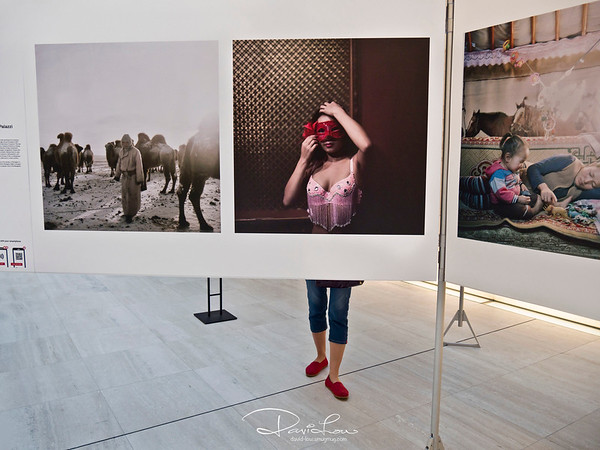 A World Press Photo Exhibition held in Singapore 2016. A divine moment came when a visitor stood right at the spot.