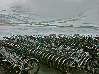 waiting bikes in Finse, Norway in July