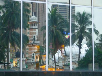 Masjid Jame reflected in Kuala Lumpur, Malaysia