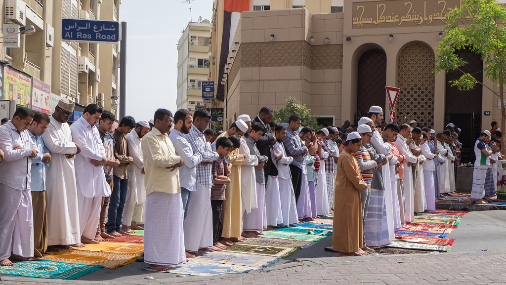 Group praying in Deira, Dubai