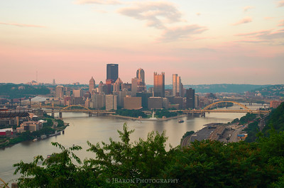 Pittsburgh Skyline at Sunset from the West End Overlook