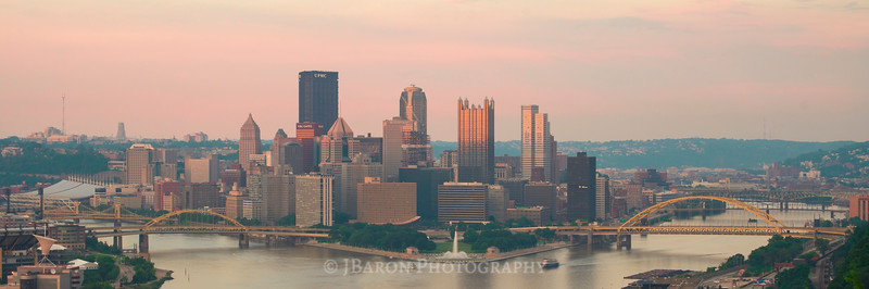 Pittsburgh Skyline at Sunset from the West End Overlook II