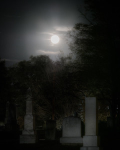 Halloween Blue Moon over the Cemetary