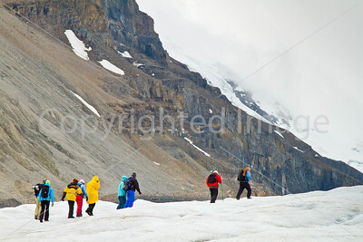 Glacier hikers, Icefields Parkway, Jasper Nat'l Park in Canadian Rockies - D5-C3 -0113 - 72 ppi