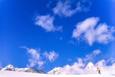 Cross-country skier before Teton Mountain Range near Jackson, Wyoming - 6 - 300 ppi