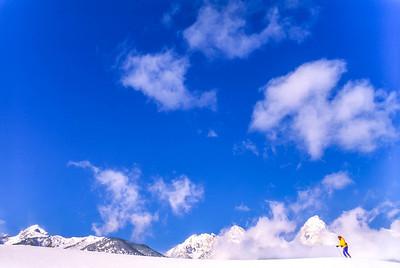 Cross-country skier before Teton Mountain Range near Jackson, Wyoming - 6 - 72 ppi