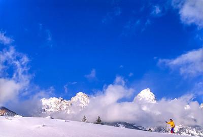 Cross-country skier before Teton Mountain Range near Jackson, Wyoming - 2 - 72 ppi