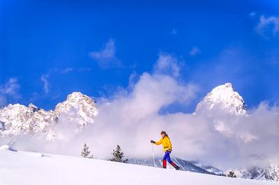 Cross-country skier before Teton Mountain Range near Jackson, Wyoming - 1 - 72 ppi