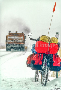Snowplow passing loaded touring bike near Utah-Colorado border-2 - 72 ppi