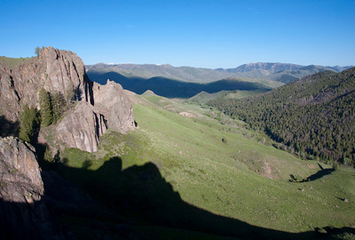 The view down Adams Gulch from many of the great cliffs ringing the drainage.