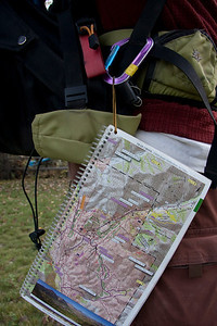 A copy of ESV tethered to a backpack.