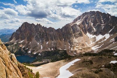 White Cloud Wilderness - Boulder White Cloud Mountains - The red granite towers of Castle Peak, Serrate Ridge, and Merriam Peak.