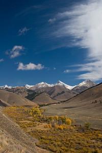 Yellow Aspens and Cottonwood flank Hyndman Creek beneath the high peaks of the Pioneer Mountains.