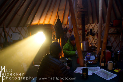 The dining yurt is 20-feet in diameter and easily accomodated our merry group of 12 skiers.