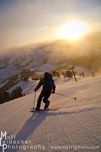Telmark skier carves a turn down Ridge run on Sun Valley's Bald Mountain.