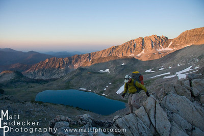 Climbing the west ridge of Altair Peak with Betty Lake and Broad Canyon below.