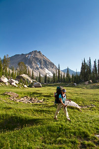 Crossing the headwaters of the Flytrip Lakes Basin, Sawtooth Mountains, ID.
