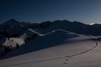 Seth westbrook travels by headlamp on a full moon ski tour