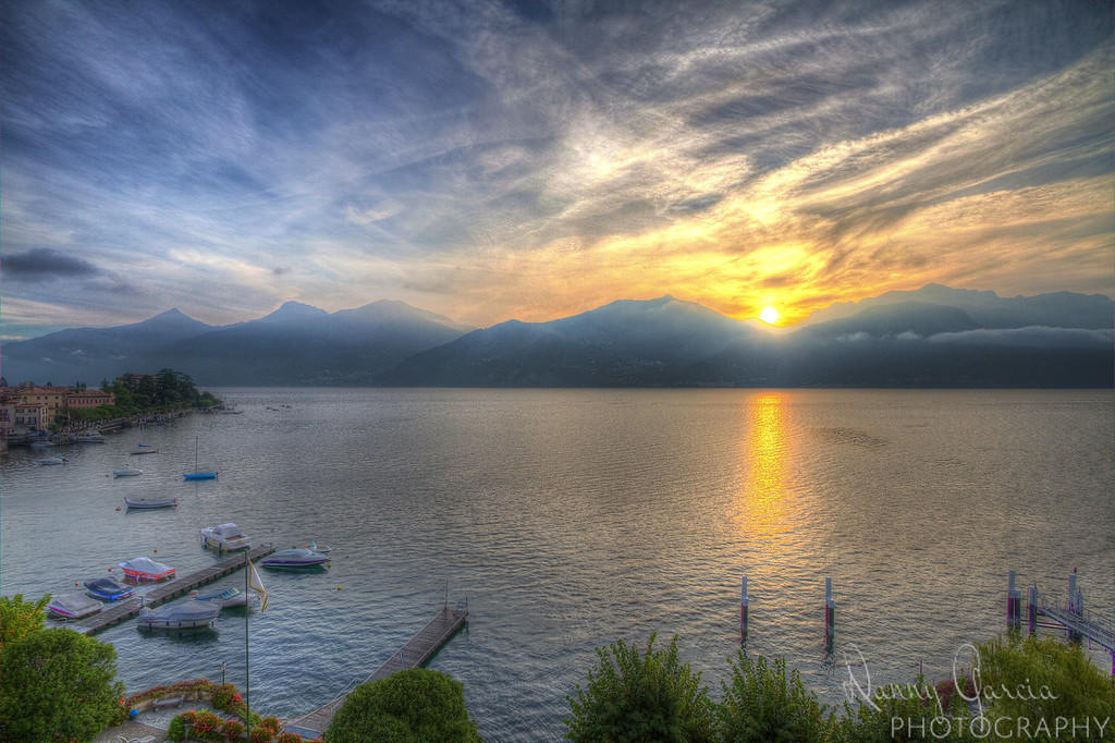 Sunrise over Lake Como in Italy