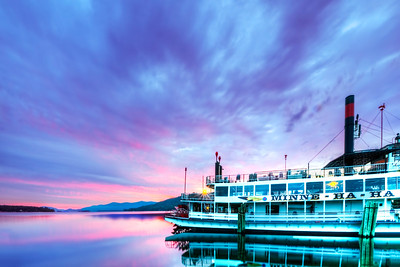 Minne-Ha-Ha tour boat on Lake George at sunrise