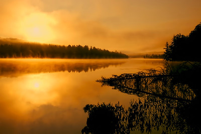 Sunrise on Utowana Lake in the central Adirondack Mountains