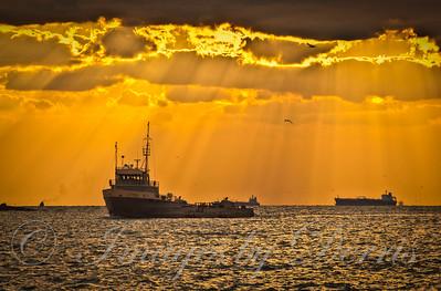 Fishing boat in Port Aransas at sunrise