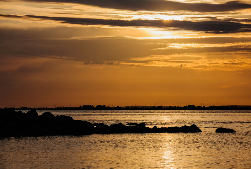 Orange sunset at Crescent Beach,  BC