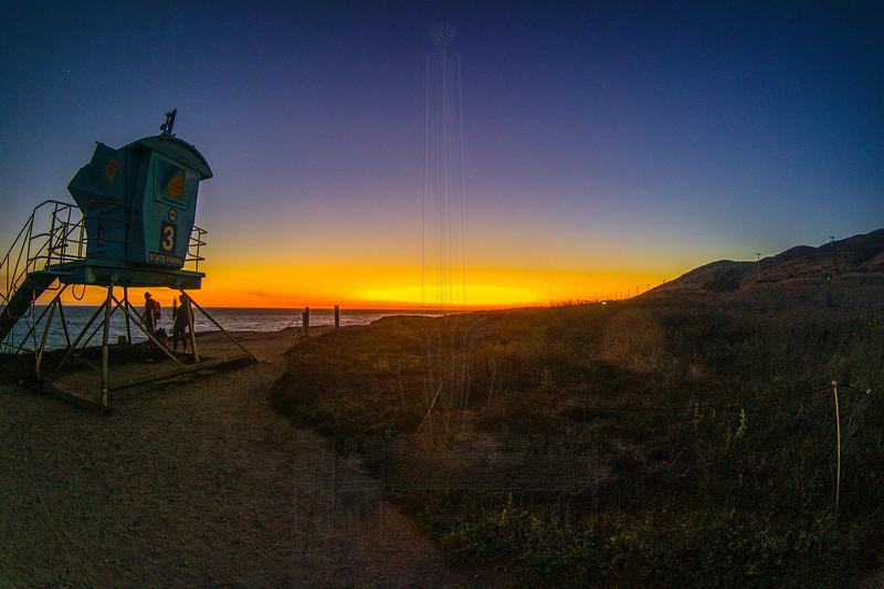 Sunset and lifeguard station.