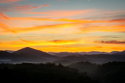 A late September sunrise viewed from Legacy Mountain in Sevierville, Tennessee.
