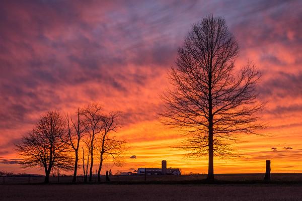 A fiery spring sunset near Schuyler, Pennsylvania.