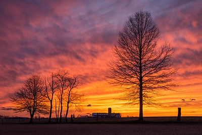 A fiery spring sunset near Schuyler, Pennsylvania.