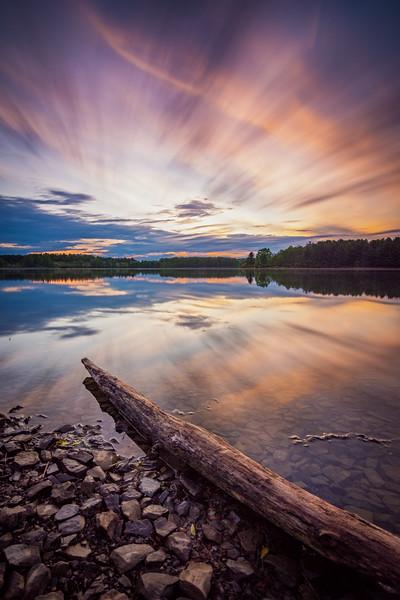 Sunset reflecting on Lake Chillisquaque at Montour Preserve in Montour County, Pennsylvania.