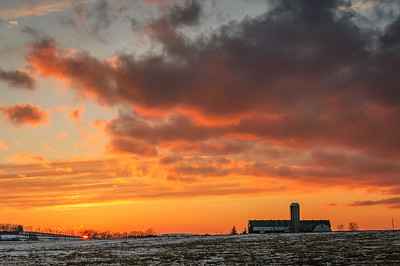 A colorful sunset seen from Montour County, Pennsylvania.