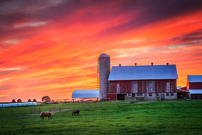 A stunning sunset afterglow on the first day of summer photographed on a farm near Limestoneville, Pennsylvania on June 21, 2018.