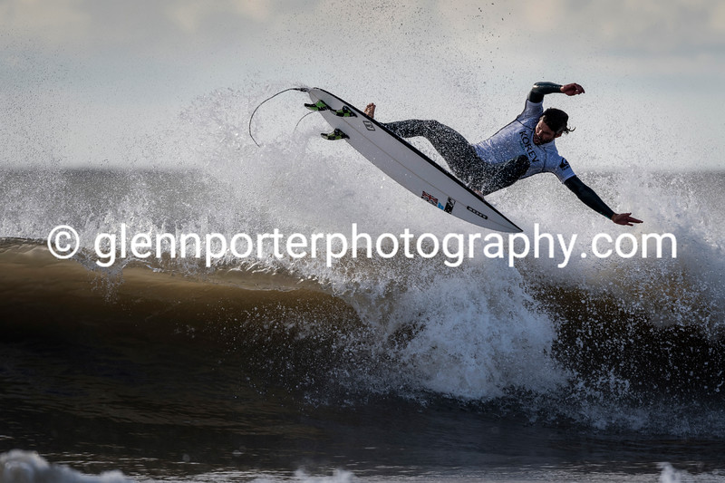 Off the wave. Welsh Pro Surf Competition, Rest Bay, Porthcawl.