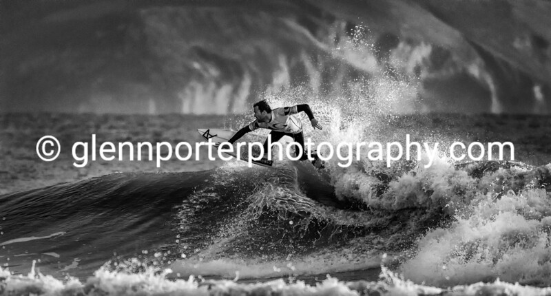 Evening surf - mono. Welsh Pro Surf Conpetition, Rest Bay, Porthcawl.