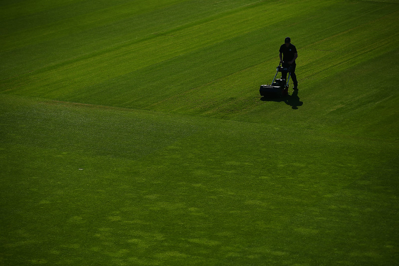 20th April - Groundstaff make the finishing touches to the pitch prior to the start of the opening day of the County Championship.