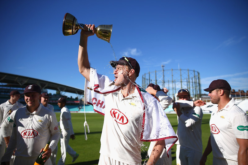 27th September - Morne Morkel of Surrey celebrates in style on a crystal clear day in South London.