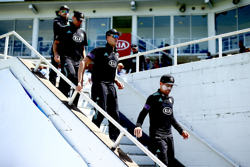 6th June - All in black. Rory Burns leads his team out to open the Royal London One-Day Cup match against Glamorgan.