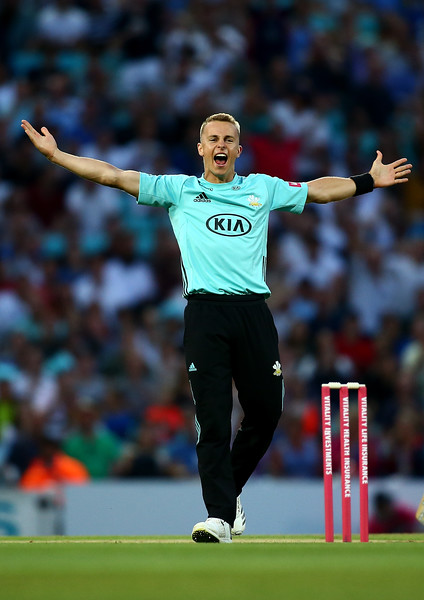 27th July - Tom Curran celebrates dismissing Johann Myburgh of Somerset during the Vitality Blast match against Somerset.
