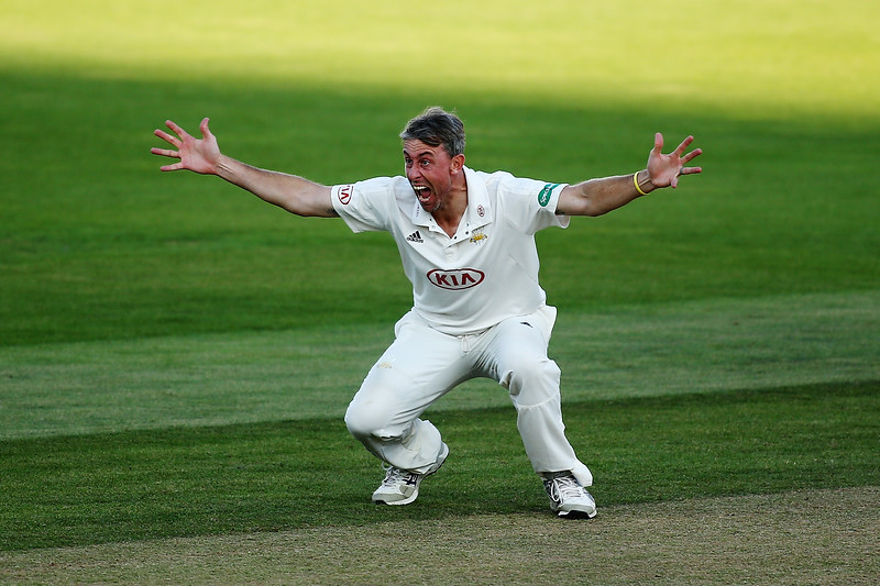 21st August - Rikki Clarke makes an animated appeal for the wicket of Dane Vilas of Lancashire on the third day of the County Championship match between Surrey and Lancashire