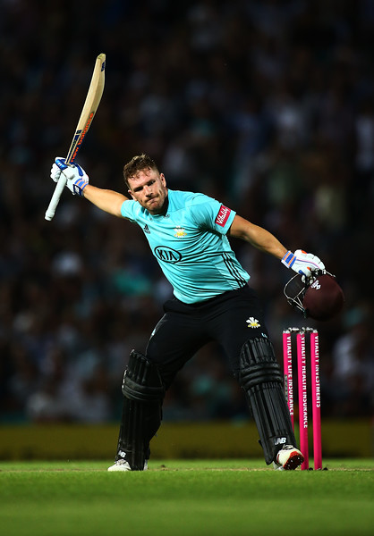 3rd August - Aaron Finch celebrates a century which saw himself and Jason Roy average over 20/over in an incredible win against Middlesex