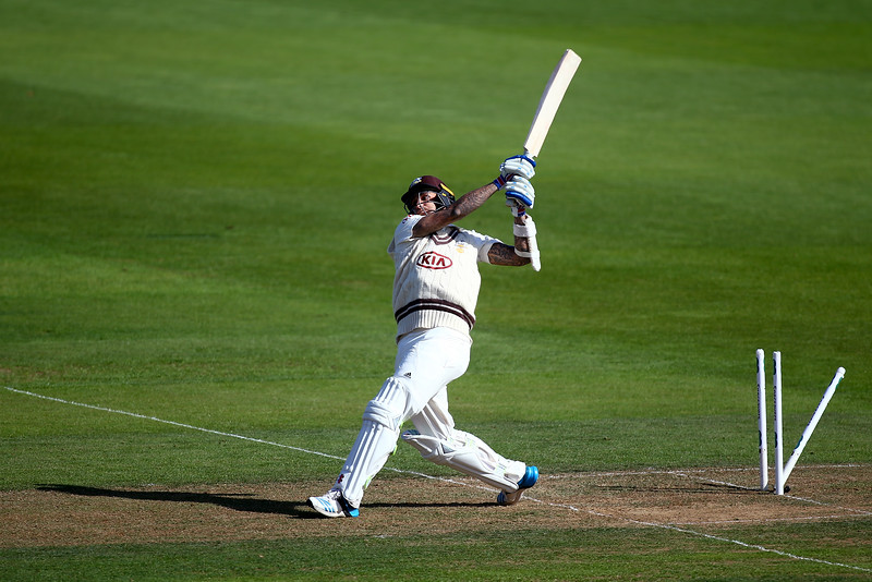 24th September - Jade Dernbach giving it everything on the first day of the County Championship match between Surrey and Essex
